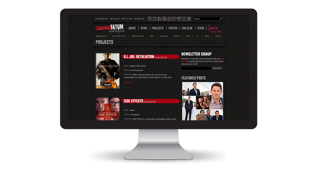 Channing Tatum Unwrapped Website: Films