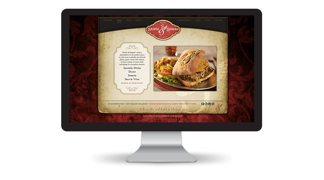 Saints & Sinners Website: Menu